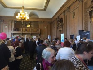 Busy stalls at World Mental Health Day, Civic Hall, Leeds