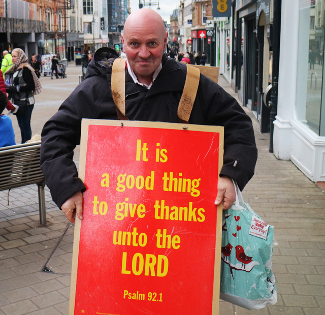 Peter Thornton, 56 from Halifax on Leeds' Briggate