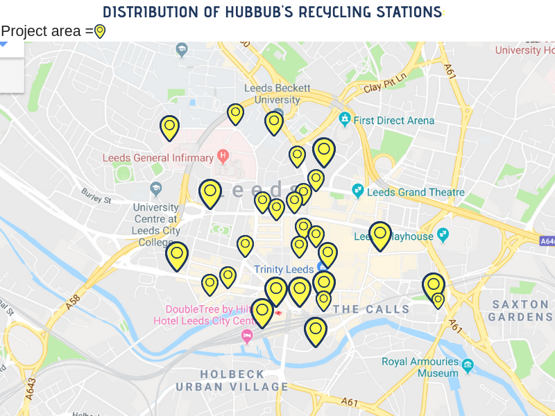 Recycling points are concentrated within Leeds City Centre.