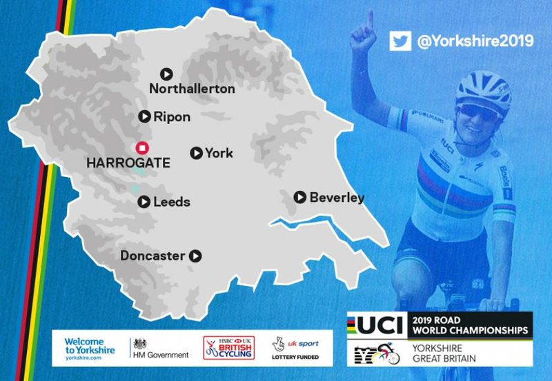 Host locations for 2019 UCI road world championships. Photo by British Cycling