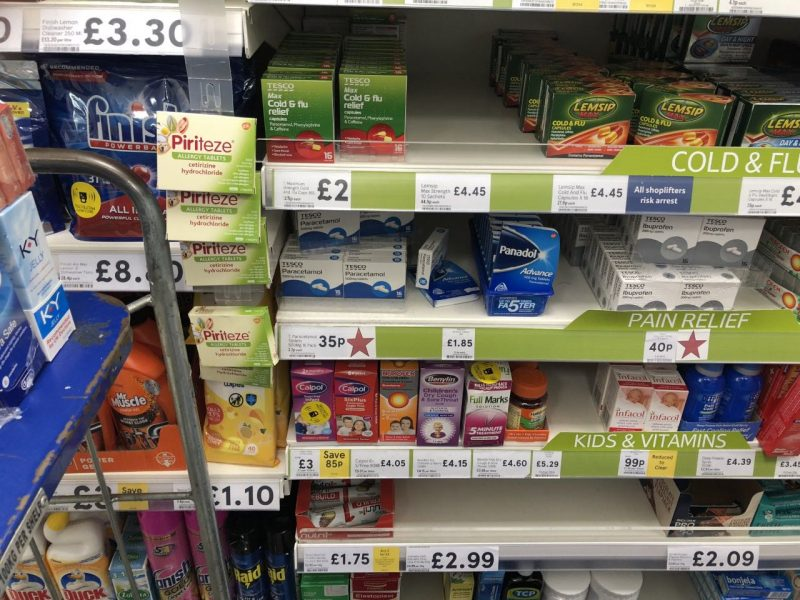 Paracetamol and ibuprofen, along with other medicines, available at Tesco for cheaper prices than what it costs the NHS to prescribe them